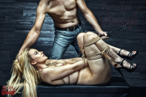 Tied, nude blond girl, punished by her master - Fine Art of Bondage