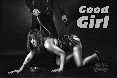 Spanking a tied slave girl with a whip - Fine Art of Bondage
