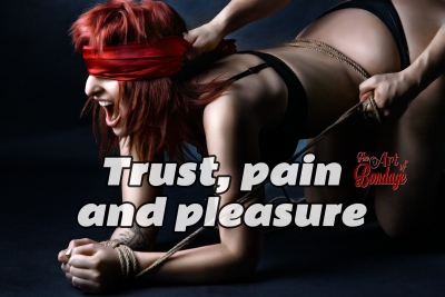 Tied, blindfolded, tortured - Fine Art of Bondage - Quote Trust, pain and pleasure