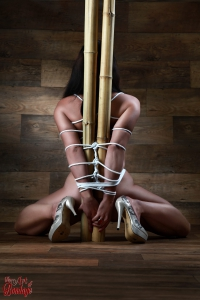 Nude, tied to a bamboo tube - Fine Art of Bondage