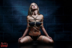 Tied up girl - Rope harness - Fine Art of Bondage