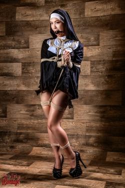 Tied, gagged nun - Fine Art of Bondage
