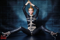 Tied in black Catsuit - Fine Art of Bondage