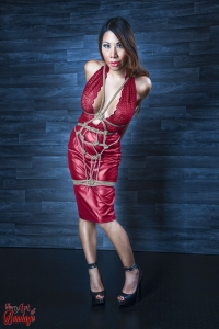 Girl tied in red dress - Fine Art of Bondage