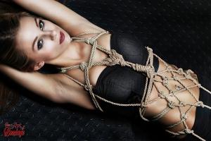 Tied up girl - Rope harness portrait - Fine Art of Bondage