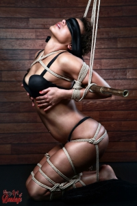 Blindfold, tied in lingerie to a bamboo tube - Fine Art of Bondage