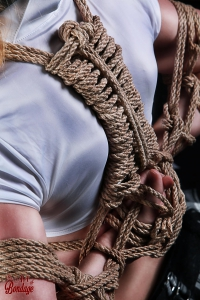 Tied arms with rope on her back - Fine Art of Bondage