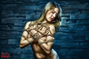 Tied up topless Beauty - Fine Art of Bondage