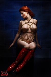 Tied and red ballet heels - Truth Burlington - Fine Art of Bondage