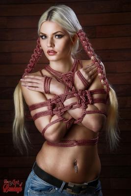 Hairbondage - 2 rope Braids and tied arms - Fine Art of Bondage