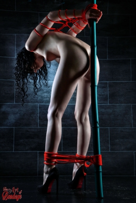 Nude tied to a bamboo tube - Fine Art of Bondage