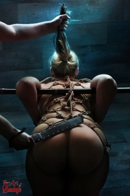 Spanking and pulling on the hair of a tied girl - Fine Art of Bondage