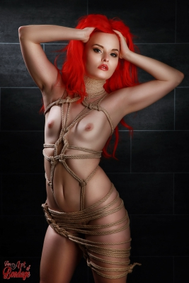 Tied girl, rope harness - Fine Art of Bondage