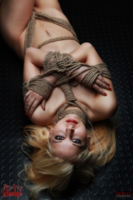 Tied lying on Floor - Fine Art of Bondage