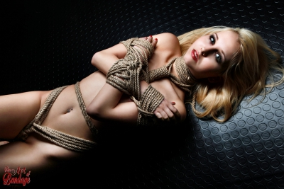 nude, tied on the floor, blonde model - Fine Art of Bondage