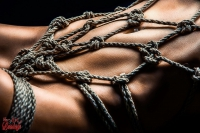 7596 - Closeup of a nude girl in a rope harness